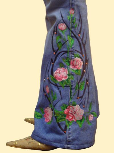 Вышивка цветов на джинсах схема