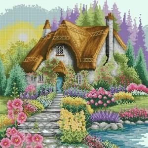 Схема Для подушки Домик в цветочном саду