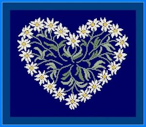 Схема Сердечко из ромашек на синей канве