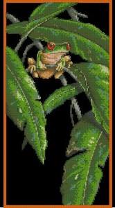 Схема Древесная лягушка в листьях