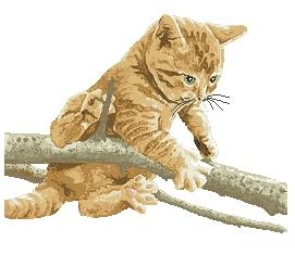 Схема Рыжий котенок на ветке