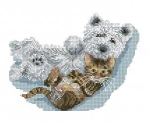 Схема Друзья отдыхают (собака и котенок)