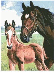 Схема Жеребенок с Лошадью