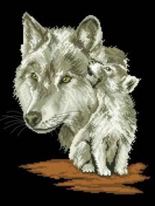 Схема Волчица с волчонком