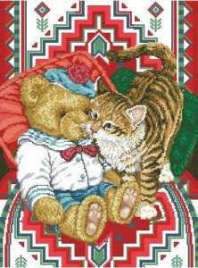 Схема Мишка и кот (American Indian Tabby)