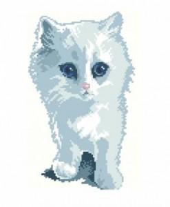 Схема Белый и пушистый котенок