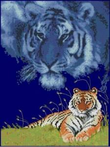 Схема Тигр на траве | Рукодельница.org ...