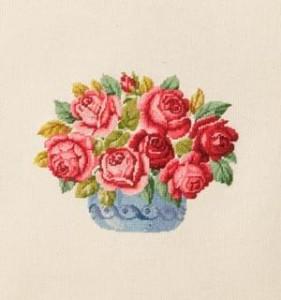 Схема Ваза с красными розами / Wiehler 3671-3 Vase with Red Roses