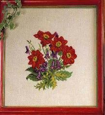 Схема Красные цветы / Cuadros3 Flores Rojas