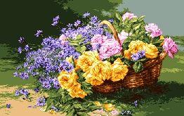 Схема Розы и васильки / G 721 Trandafiri si albastrele