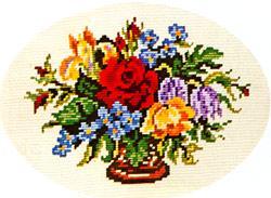 Схема Разноцветные цветы в овале / Wiehler 3528-6 Brightly Coloured Flowers
