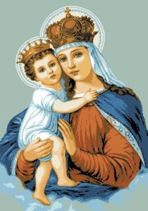 Схема Икона Святая дева с ребенком