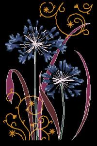 Схема Синие цветы на черном