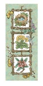 Схема Панель с цветами, гнездом и бабочками