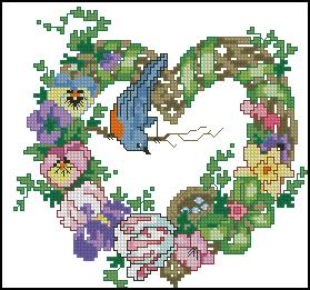 Схема Венок и птичка