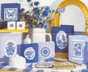 Схема Голубые китайские открытки