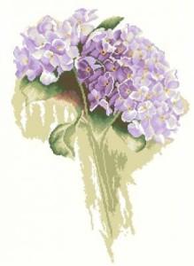 Схема Голубые цветы / Blue Hydrangea