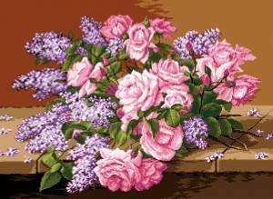 Схема Розы и сирень. G 749 Liliac si trandafiri