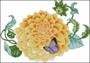 Схема Жёлтый цветок с бабочкой