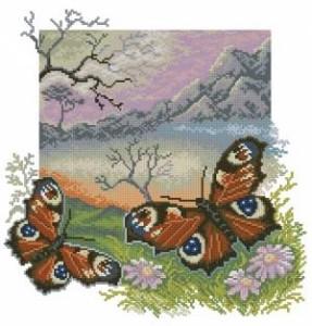 Схема Бабочки павлиний глаз и горы
