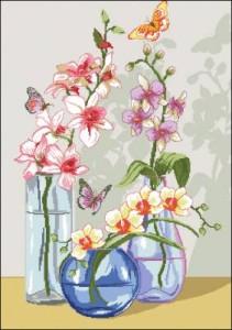 Схема Орхидеи в вазах / Orhidee per la tua casa