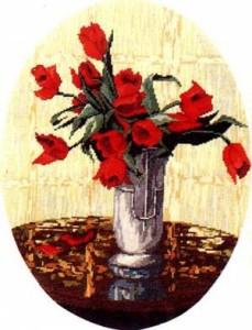 Схема Красные тюльпаны в вазе / Wiehler 2709