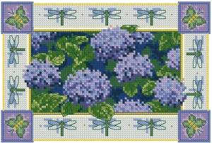 Схема Гортензии и стрекозы / Hydrangeas and Dragonflies