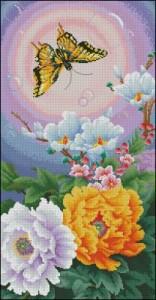 Схема Цветы и бабочка