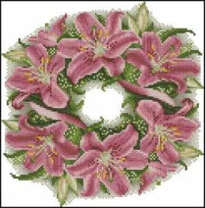 Схема Венок из розовых лилий