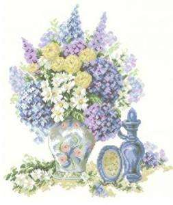 Схема Сиреневый букет с розами и ромашками