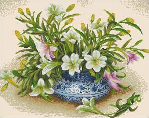 Схема Лилии в китайской вазе