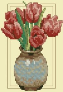 Схема Тюльпаны в глиняной вазе