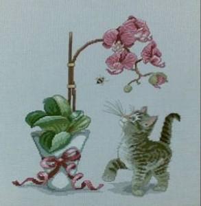 Схема Орхидея, котёнок и пчела