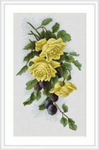 Схема Желтые розы со сливами