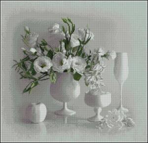 Белый натюрморт схема вышивка