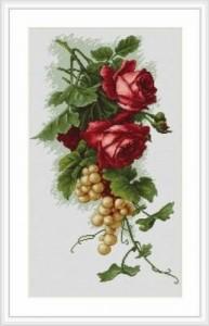 Схема Красные розы с виноградом