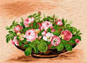 Схема Розовые цветы в вазе / Cos cu Trandafiri