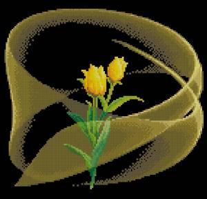 Схема Тюльпаны на черном (китайский дизайн)