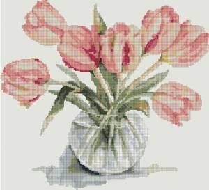 Схема Розовые тюльпаны