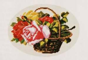 Схема Корзина с разноцветными розами / Wiehler 2614-8 Basket of Brightly Coloured Roses