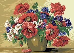 Схема Букет в вазе / Vas cu flori de vara