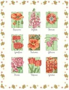 Схема Красные цветы