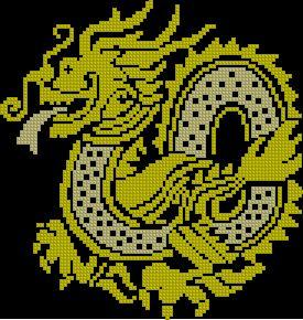Схема Двухцветный дракон (золото - серебро)