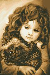Схема Девочка с котиком