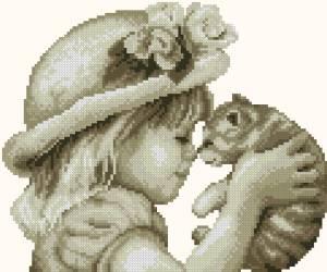 Схема Девочка с котёнком