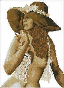Схема Девушка в шляпе