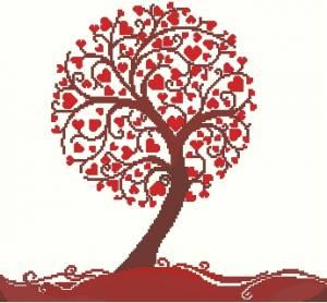 Дерево из сердечек вышивка