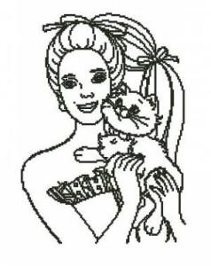 Схема Девушка с котенком