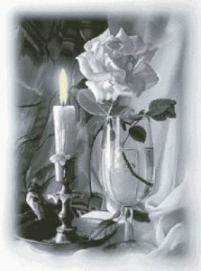 Схема Белая роза и свеча