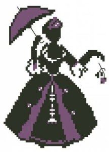 Схема Дама с зонтом